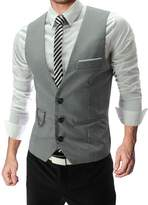Pishon Men's Suit Vest Top Designed Casual Slim Fit Skinny Dress Vest Waistcoats