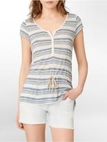 Calvin Klein Jeans Striped Tie-Closure Waist Henley