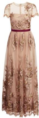 ML Monique Lhuillier Short-Sleeve Illusion Floral Gown