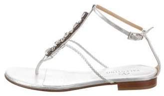 Valentino Leather Crystal-Embellished Sandals