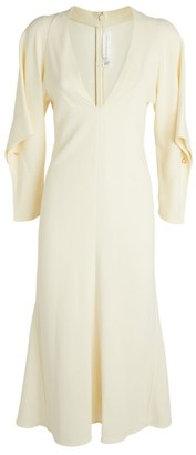 Victoria Beckham Draped Sleeve V-Neck Dress