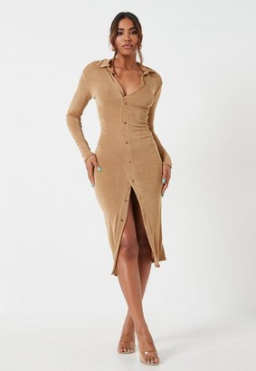 Missguided Bronze Slinky Button Down Collar Long Sleeve Midi Dress
