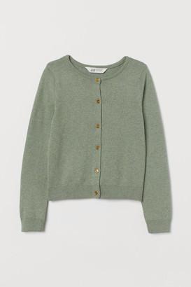 H&M Fine-knit Cotton Cardigan - Green