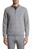 Canali Men's Cable Knit Quarter Zip Sweater