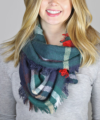 Funky Monkey Women's Cold Weather Scarves Red/Blue - Navy & Green Plaid Infinity Scarf - Women