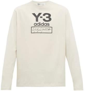 Y-3 Y 3 Logo Print Long Sleeved Cotton T Shirt - Mens - White