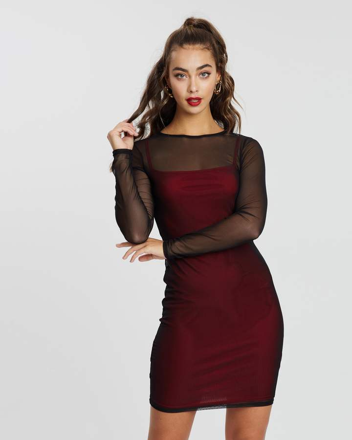 Missguided Mesh Long Sleeve Mini Dress