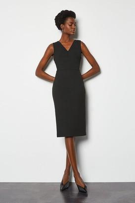 Tailored V Neck Zip Detail Dress