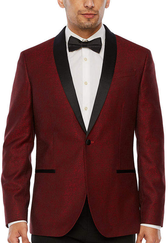 Jf J.Ferrar Grid Slim Fit Stretch Tuxedo Jacket