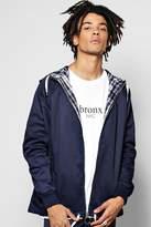 Boohoo Hooded Cotton Harrington Jacket