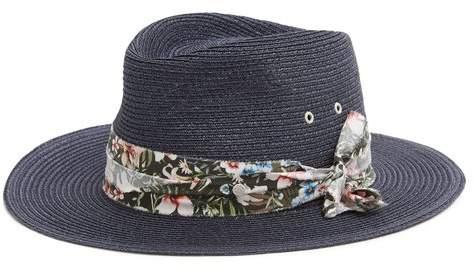 Maison Michel Thadee Straw Hat - Womens - Navy