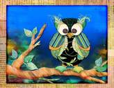 Stupell Industries The Kids Room Owl with Map Border Rectangle Wall Plaque