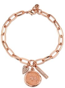 """Unwritten Rose Gold Tone Fine Plated Silver """"Mom"""" Crystal Heart Charm Link Bracelet"""