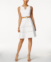Nine West Belted Split-Neck Dress