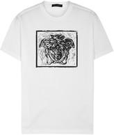 Versace White Logo-print Cotton T-shirt