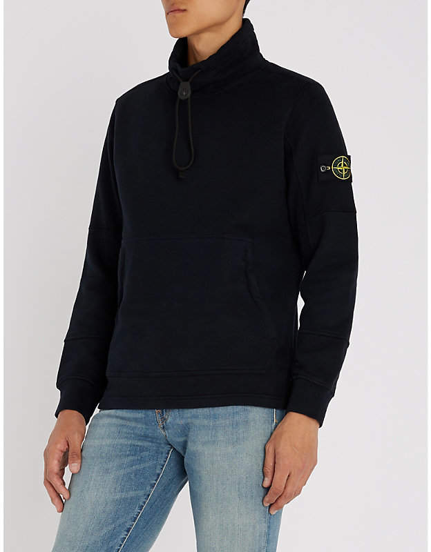 Stone Island Funnel-neck cotton-jersey sweatshirt