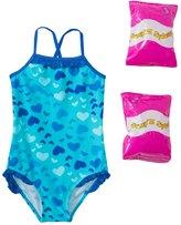 Jump N Splash Toddler Girls' Heart Art One Piece Swimsuit w/ Free Floaties (2T4T) - 8143037