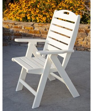 Polywood Nautical Folding Patio Dining Chair Color: White