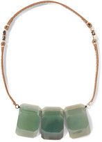 Marni Leather and stone necklace