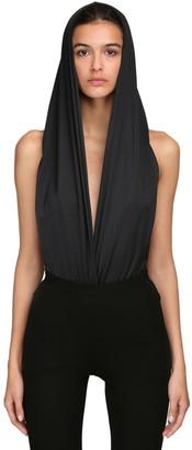 Balmain Shiny Jersey Hooded Bodysuit