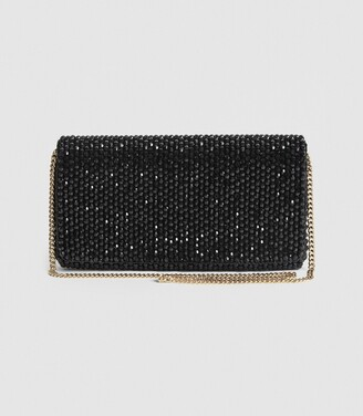 Reiss Zoey - Embellished Clutch Bag in Black