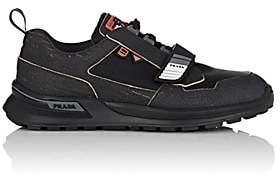 Prada Men's Rubber-Strap Leather & Mesh Sneakers - Black
