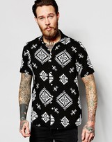 Asos Geo-Tribal Shirt In Black With Short Sleeves In Regular Fit