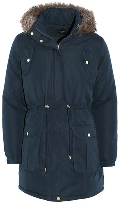 Brave Soul Ladies Parka Coat - Cicely - Khaki Green - UK 14