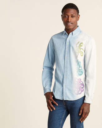 Just Cavalli Snake Print Long Sleeve Denim Shirt