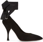 Miu Miu Black Suede Grommet and Ribbon Heels