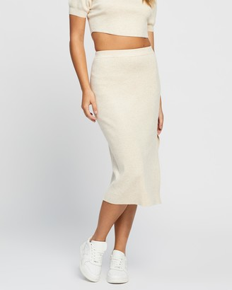 Atmos & Here Atmos&Here - Women's Neutrals Cropped tops - Roza Knitted Skirt - Size 6 at The Iconic