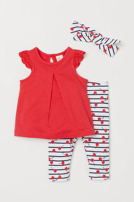 H&M 3-piece Cotton Jersey Set - Red