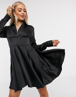 UNIQUE21 high low hem shirt dress in black