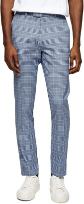 Topman Plaid Stretch Skinny Trousers