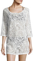 J Valdi Mesh-Accented Paisley Cover-Up Tunic
