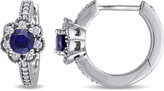 Laura Ashley 5/6 CT TW Lab-Created Sapphire and Diamond 10K White Gold Huggie Earrings