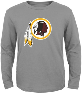 Redskins Preschool Heathered Gray Washington Team Logo Long Sleeve T-Shirt