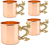 Old Dutch 20 Oz Solid Copper Dragon Handle Straight Sided Mugs Set of 4