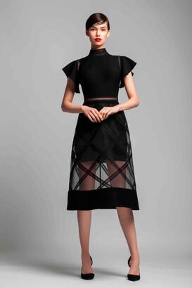 Gemy Maalouf Short Sleeve Midi-Tea Dress