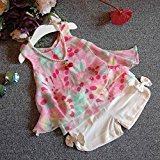 AMA(TM) Toddler Kids Baby Girls Sleeveless Floral Vest T-shirt Tops +Short Pants Outfits Clothes Set (6/7T, Pink)