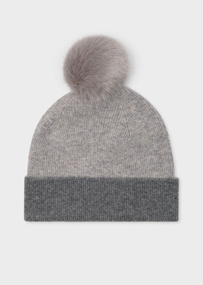 Women's Light Grey Wool Beanie Hat With Pom Pom