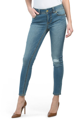 Thick Stitch Skinny Jeans With Back Flap Pockets