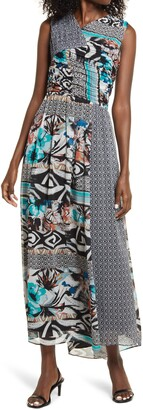 Harlyn Mix Print Ruched Maxi Dress