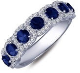 Lafonn Micro Pave Simulated Diamond & Blue Sapphire Sterling Silver Round Halo Ring