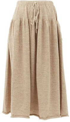 LAUREN MANOOGIAN Tiered Alpaca-blend Midi Skirt - Womens - Light Beige