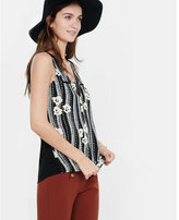 Express floral stripe zip front tank