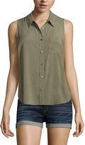 Arizona Sleeveless Stripe Button-Front Shirt-Juniors