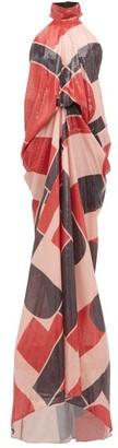 Halpern Geometric Sequinned Halterneck Gown - Womens - Multi