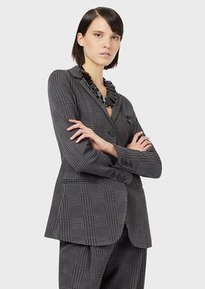 Emporio Armani Textured Glen Plaid, Single-Breasted Jacket