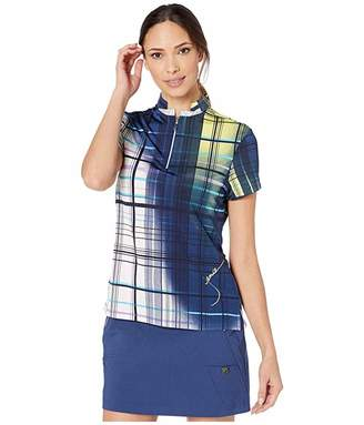 Jamie Sadock Painted Plaid Print Short Sleeve Top